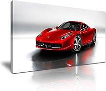 Red Super Car Canvas Wall Art Picture Print 60x30cm