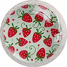 Red Sweety Strawberry PatternRound Glass knob