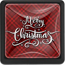 Red Tartan with Merry Christmas Square Cabinet