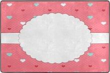 Red Template Card Blue White Carpet Rug 91x61cm