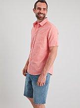 Red Textured Short Sleeve Regular Fit Shirt - XXXL