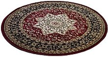 Red Traditional Design Soft Pile Round Area Rug