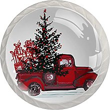 Red Truck with fir Tree, Cabinet Knob Premium