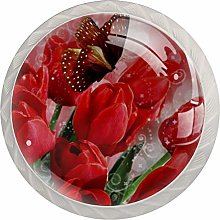 Red Tulip Butterfly 4 Pieces Crystal Glass