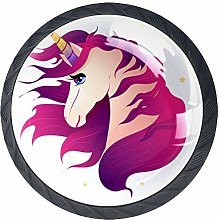 Red Unicorn Crystal Drawer Handles Furniture Glass