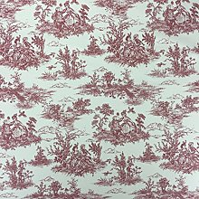 Red Vintage French Lovers Scenes Toile de Jouy