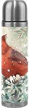 Red White Bird Flower Water Bottle Stainless Steel