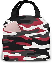 Red White Camo 91 Portable Insulated Lunch Bag,