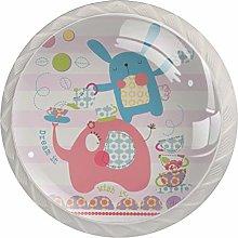 Red White Elephant Rabbit 4pcs Glass Cupboard