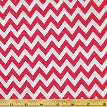 Red/White - Printed Polycotton Fabric 6mm CHEVRON