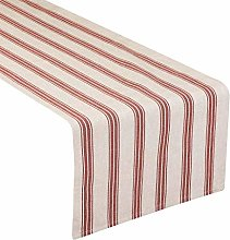 Red/White Table Runner Striped Machine Washable