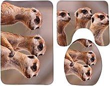 RedBeans Bath Mat,Animal,The Three Brown Meerkats