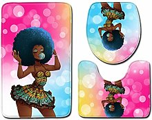 RedBeans Bathroom Rugs Set Afro Woman Bathroom