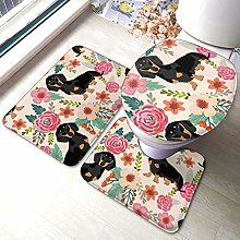 RedBeans Daschund Dog Non Slip Bath Mat 3 Piece