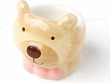 Redchocol8(R) Ceramic Brown Beige Bear Egg Cup