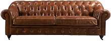 Redding Leather 4 Seater Chesterfield Sofa