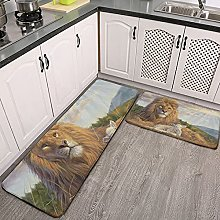 Reebos 2 Pcs Kitchen Rug Set, African lion with a