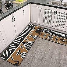 Reebos 2 Pcs Kitchen Rug Set, african mud cloth