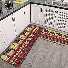Reebos 2 Pcs Kitchen Rug Set, African print with