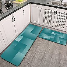 Reebos 2 Pcs Kitchen Rug Set, Any Color with Teal