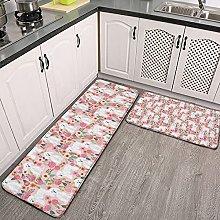 Reebos 2 Pcs Kitchen Rug Set, bichon florals cute