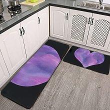 Reebos 2 Pcs Kitchen Rug Set, Black and Purple