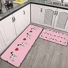 Reebos 2 Pcs Kitchen Rug Set, blossom pink cute
