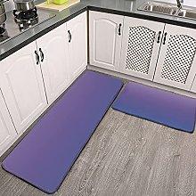 Reebos 2 Pcs Kitchen Rug Set, blue lilac ombre