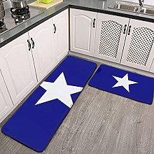 Reebos 2 Pcs Kitchen Rug Set, Bonnie Blue Flag
