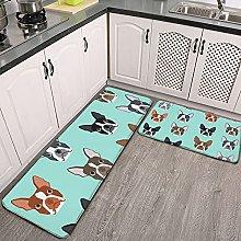 Reebos 2 Pcs Kitchen Rug Set, boston terrier heads