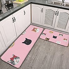 Reebos 2 Pcs Kitchen Rug Set, cat breed faces with