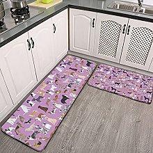 Reebos 2 Pcs Kitchen Rug Set, cute dog purple