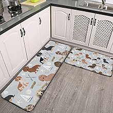 Reebos 2 Pcs Kitchen Rug Set, dachshund coastal