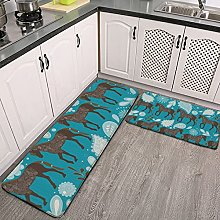 Reebos 2 Pcs Kitchen Rug Set, Dance with horses
