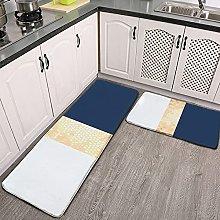 Reebos 2 Pcs Kitchen Rug Set, Elegant Faux Gold