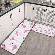 Reebos 2 Pcs Kitchen Rug Set, Flamingos with
