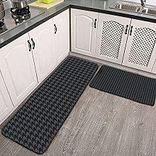 Reebos 2 Pcs Kitchen Rug Set, Gray and Black