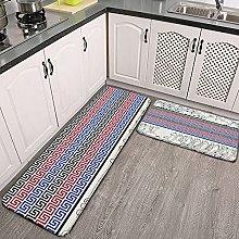 Reebos 2 Pcs Kitchen Rug Set, Greek keys with