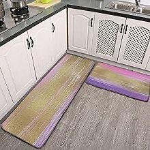 Reebos 2 Pcs Kitchen Rug Set, Modern Pink Gold