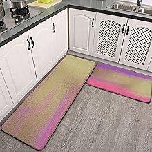 Reebos 2 Pcs Kitchen Rug Set, Modern Pink Purple