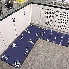 Reebos 2 Pcs Kitchen Rug Set, Nautical Indigo Blue