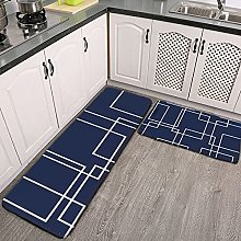 Reebos 2 Pcs Kitchen Rug Set, Navy and White