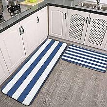 Reebos 2 Pcs Kitchen Rug Set, navy blue white