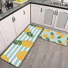 Reebos 2 Pcs Kitchen Rug Set, Pineapple With
