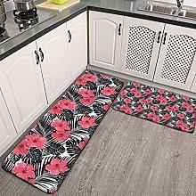 Reebos 2 Pcs Kitchen Rug Set, Pink Hibiscus Black