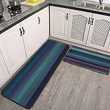 Reebos 2 Pcs Kitchen Rug Set, Purple Teal Blue
