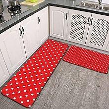 Reebos 2 Pcs Kitchen Rug Set, Red with White Polka