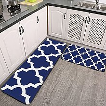 Reebos 2 Pcs Kitchen Rug Set, Rich Navy Blue and