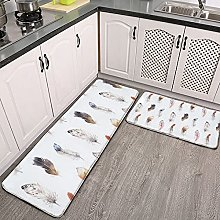 Reebos 2 Pcs Kitchen Rug Set, Seamless pattern