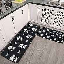 Reebos 2 Pcs Kitchen Rug Set, Seamless with skulls